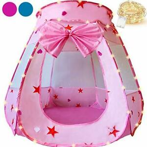 KingBee Pink Princess Pop Up Play Tent Ball Pit with Lights, Toys Gifts for