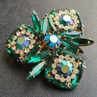 D&E JULIANA Vintage Emerald Green Navette AB Rhinestone Flower Brooch Pin 676
