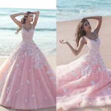 New Beach Applique Pink Flowers A Line Wedding Dress Bridal Gown Custom all Size