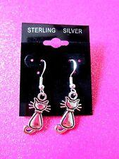 925 STERLING SILVER CAT DANGLE EARRINGS