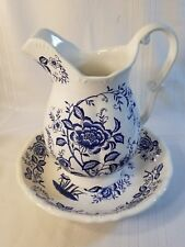 Vintage Blue & White w Flowers Porcelain Large Pitcher & Wash Basin Bowl Set NS