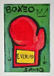 JEAN MICHEL BASQUIAT aka SAMO -- A 1970s -1980s BOXING GLOVE PAINTING, OLD, RARE