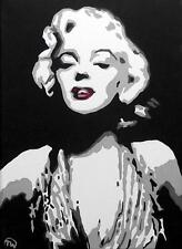 Pop Art Original Oil Painting by Terry P Wylde : Red Lipped Marilyn Monroe A