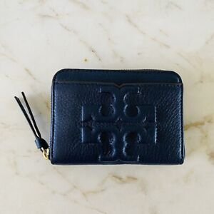 TORY BURCH Solid Blue Soft Leather Mini Zip Around Wallet Large Logo