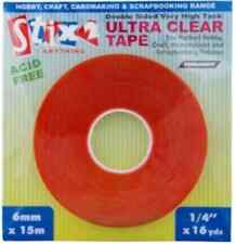 PERMANENT ADHESIVE ULTRA CLEAR TAPE DOUBLE SIDED VERY HIGH TACK 6mm x 15m S57085
