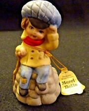 Cute Merri-Bells Jasco 1978 Boy with Blue Hat Bisque Porcelain Bell Colorful
