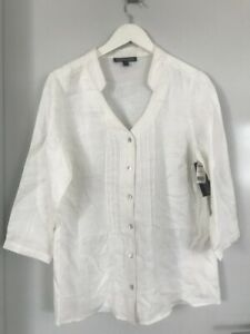 The Clothing Company White Pure Linen Shirt Blouse Top New with Tags Size 10