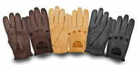 RETRO STYLE LAMBSKIN LEATHER DRIVING GLOVES SKIN FIT WHEELCHAIR CHAUFFEUR BIKER