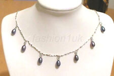 "Women New FW Black Real Pearl 18KGP Xmas Birthday Valentines 16"" Choker Necklace"