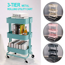 83aa408f51f 3-Tier Metal Rolling Utility Cart Mobile Storage Organizer Trolley Cart