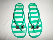 COACH GREEN PLASTIC FLIP FLOPS WITH COACH BOW SIZE 5B