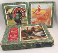 Vintage Antique old toy game of wooden Jigsaw wood Fowls in original Victory box
