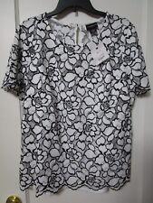 NWT Women's LIZ CLAIBORNE White Black Floral Lace Blouse Size XL Tall - MSRP $70