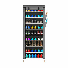 Oxford fabric 10 Tier 27 Pairs Shoes Cabinet Storage Organizer Rack Stand -GREY