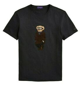 Ralph Lauren Purple Label Italy Grey Aviation Pilot Polo Bear Mens Tee T Shirt
