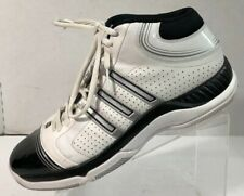 c26ba4259da adidas Men s Vintage 2008 Leather White Blue Basketball Sneakers Shoe Size  ...
