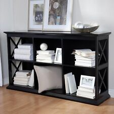 Black 6 Shelf Cubby Bookcase Console Table Home Living Room Furniture Storage