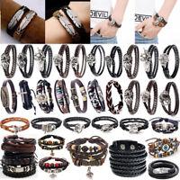 Men Braided Handmade Leather Wrap Punk Cuff Bangle Bracelet Wristband Gift Lot