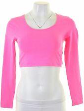 VICTORIAS SECRET Womens Crop Top Long Sleeve Size 8 Small Pink Cotton  HV01