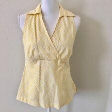 Loft Yellow White Faux Wrap Sleeveless Cotton Top Women's Size 10