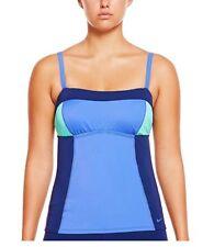 NIKE Women's Color Surge Colorblock Tankini Top Swimwear sz sm new nwt blue