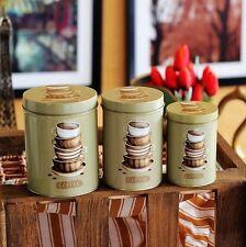 3 PCS Retro Green Coffee Cups Kitchen Coffee Tea Sugar Container Jar Tin Metal