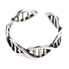Silver Plated DNA Double Helix Symbol Molecule Ring Science Handmade Adjustable