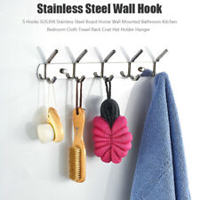 5 Hooks Coat Hat Clothes Robe Holder Rack Hook Wall Hanger Stainless Steel