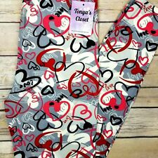 EXTRA PLUS Heart Love Print Leggings Valentines Day Buttery Soft Curvy 16-24