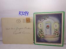 VINTAGE CHRISTMAS CARD-ENVELOPE-STAMP 1947 40'S FRONT DOOR-WREATH-TREES-LIGHTS