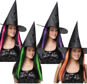 Witches Hat with Hair Large Adult Classic Black Wicked Witch Wizard of Oz