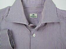 Borrelli Napoli Men's 17.5 - 44 Dress Shirt Designer Italy Purple Striped