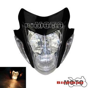 Supermoto Headlight Nake Black Raider Custom Fit Ducati Motorcycle Universal