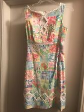 Lilly Pulitzer dress - Pastel with US States in Patchwork Design -  Sz 2