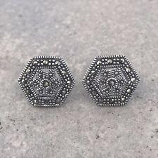 Sterling Silver 925  Marcasite Vintage Style Hexagon Shape Stud Earrings RRP $90