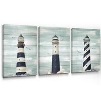 Nautical Lighthouse Wall Art Blue Coast Rustic Canvas Prints Home Decor 12x16