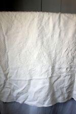 """Vintage 1990 Ralph Lauren 84"""" X 98"""" Damask Imprint Ivory Ralph Lauren Bedspread"""
