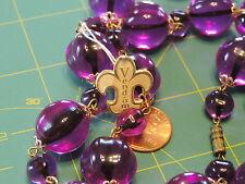 """Vintage VENDOME NOS w/ TAG Violet Purple Molded Plastic bead 24"""" Necklace m 48"""