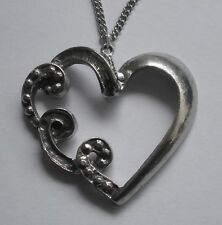 Heart Pendant (39mm x 36mm) Chain Necklace #1258 Pewter Curly