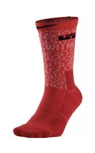 Nike Lebron James Elite Quick Basketball Crew Socks Red Black Men's 8-12 $22