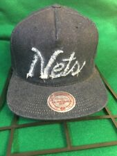 Brooklyn Nets Mitchell & Ness Snapback Hat Cap Blue Denim Hat RARE