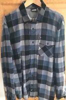 Vans Mens Button Down Long Sleeve Flannel Shirt skate blue plaid Size Large euc