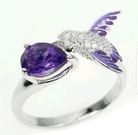 Natural Amethyst Pear Hummingbird 925 Sterling Silver Ring Jewelry 1.80 ctw