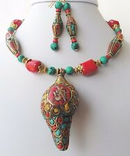 Nepal Rare Conch Shell Necklace Earrings Inset Turquoise Coral Handcrafted OOAK