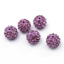 10 Stück Strassperlen Beads Perlen Shamballa Amethyst Hell 12 mm-2834