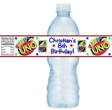 12 UNO Playing Cards Game Birthday Party Baby Shower Water Bottle Stickers