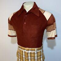 Vtg 60s 70s PAUL HOWARD Velour Shirt Polyester DISCO Hippie Striped Mod MENS XL