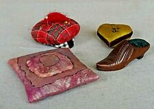 4 Antique & Vintage Pin Cushion Heart, Shoe, Hat & Cushion