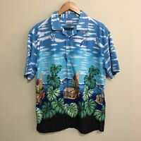 Solutions Surfboards Beach Surf Car Hawaiian Shirt Vintage 90's Mens Large