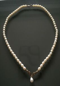 """Pearl necklace Ernest Jones 9ct Gold Fresh water Pearl Necklace 17"""""""